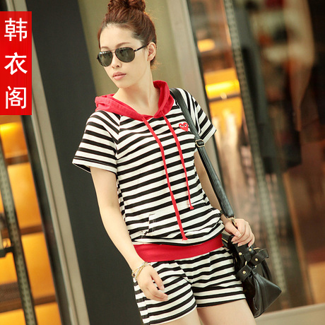 Free Shipping Summer Women's Casual Stripe Short-sleeve Sports Set Ladies' Leisure Suits Hoodies Top+ Pants JK-033