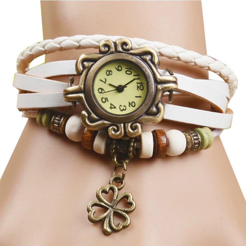Fashion Clover Pendants Quartz Watch Women Watches Men Casual Sport Wristwatch Leather Cartoon jewelry Dress watch gift(China (Mainland))