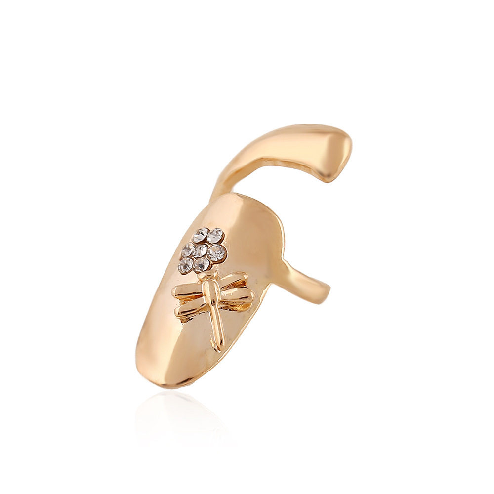European style personality Charm crystal Ring Finger Ring False Fingernails Ring(China (Mainland))