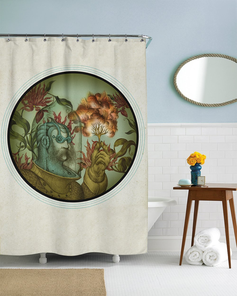 Vintage custom waterproof fashion shower curtain 60 x 72 for 60s bathroom decor