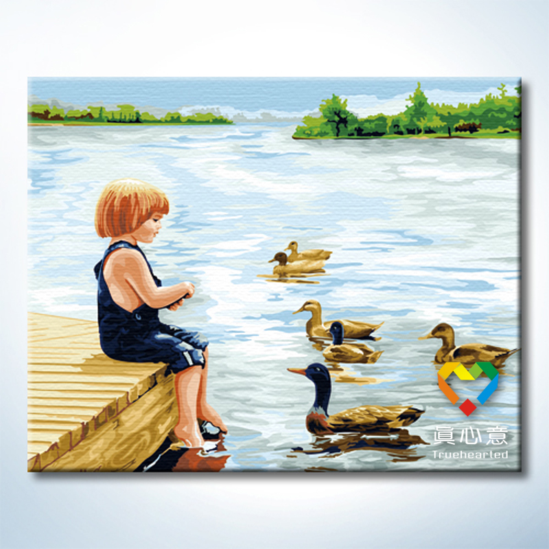 Colored drawing diy digital oil painting cartoon child landscape painting summer 40 50