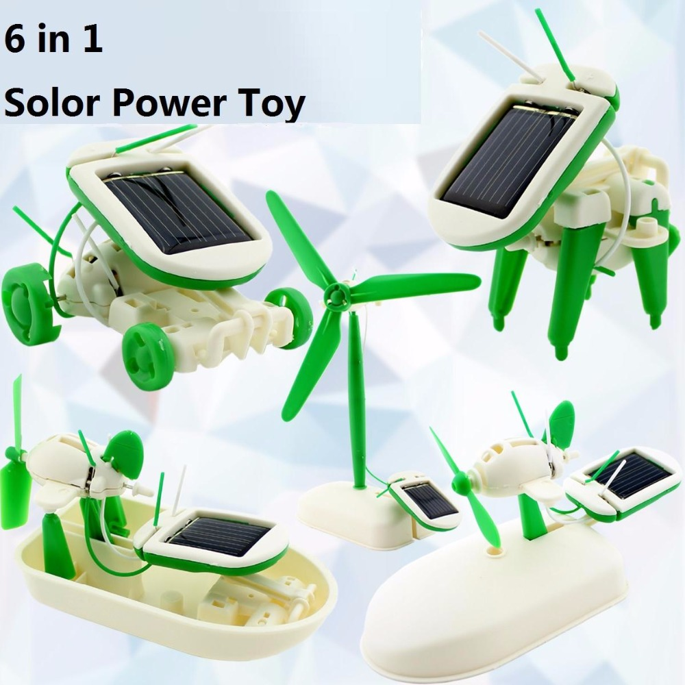 6-in-1 Science Creative DIY Solar Energy Power Robot Kit Assembling Children Kids Education Learning Toys Gift(China (Mainland))