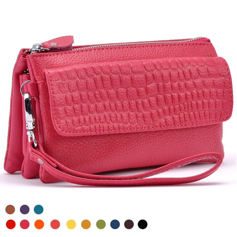 2016 New Designer Female Real Genuine Leather Wallet Sac Women Cosmetic Mobile Phone Bag Ladies Clutch Coin Holder Purse QB143(China (Mainland))