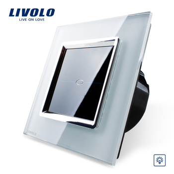 Free Shipping, Livolo EU Standard Touch Dimmer Switch, VL-C701D-SR1,Crystal Glass Panel, AC 110~250V Wall Light Dimmer Switch