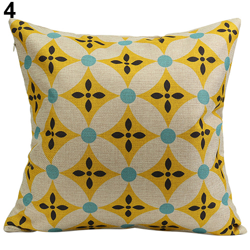 2015 Hot Sale Vintage Geometric Flower Cotton Linen Throw Pillow Case Cushion Cover Home A6UL