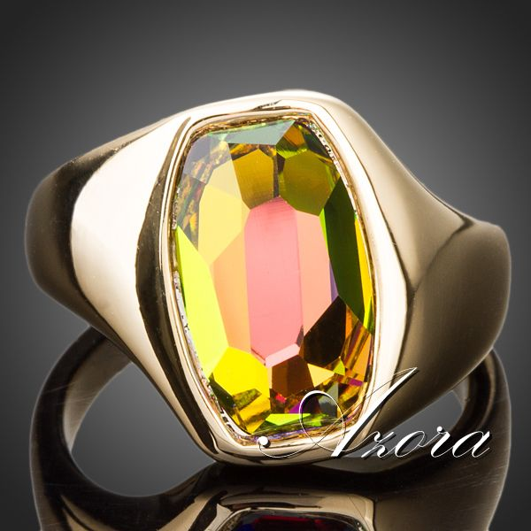 AZORA Latest Brand Design 18K Gold Plated Gradient Bright Color Stellux Austrian Crystal Ring TR0140(China (Mainland))