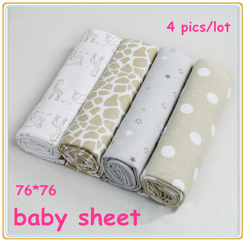4pcs/lot newborn bed sheet 13 styles baby bedding 100% cotton set for newborn super soft crib cheap linen 76x76cm cot boy girl(China (Mainland))