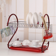 Homestyle Kitchen multifunctional 2 Tier Stainless Steel Dish Drainer Cup Drying Dish Rack Plates Holder rack OS001601(China (Mainland))