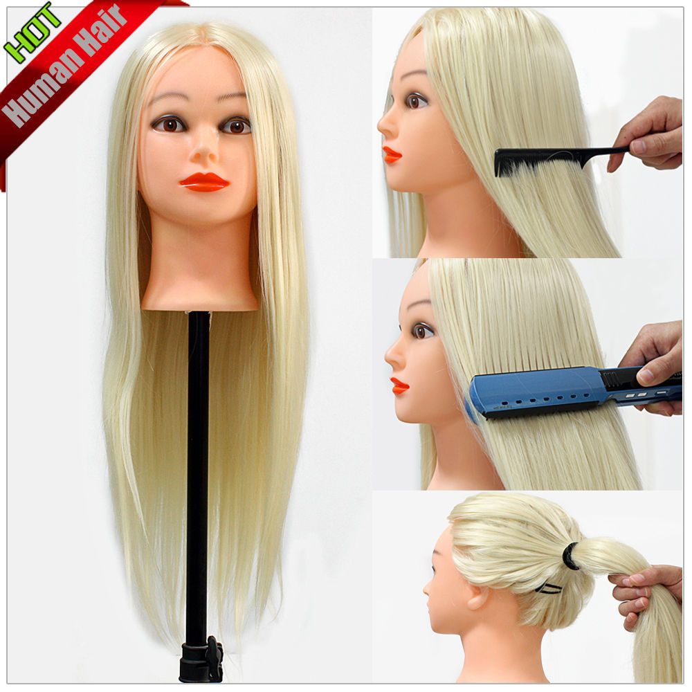 """24"""" 30% Real Human Hair Hairdressing Training Practice Head For School New(China (Mainland))"""
