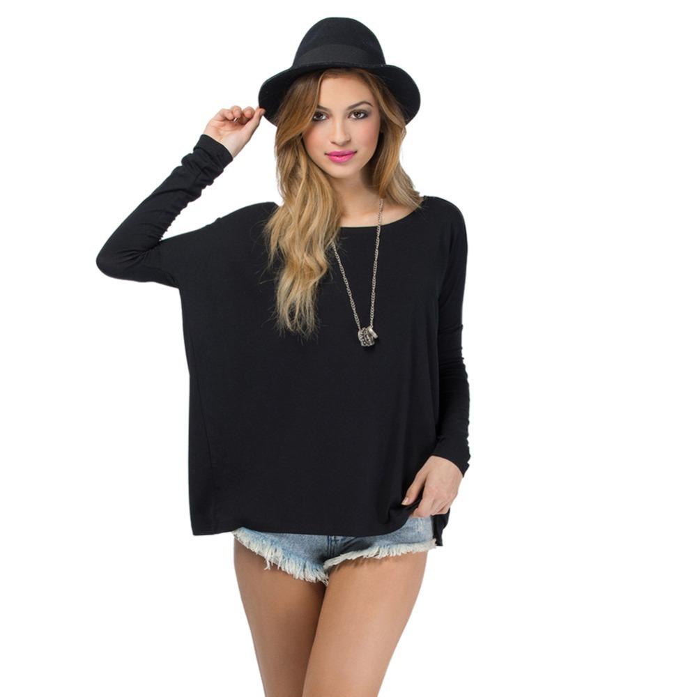 4 Colors Women Big Swing Tee Shirt Pullover Tops Dolman Loose Shirt(China (Mainland))
