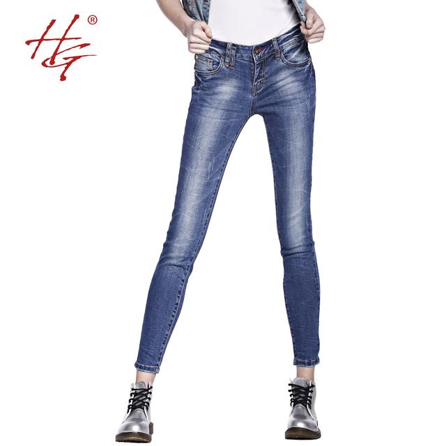 HG # X05 модно эластичный узкие джинсы женщин среднего талии джинсы молодые девушки ...