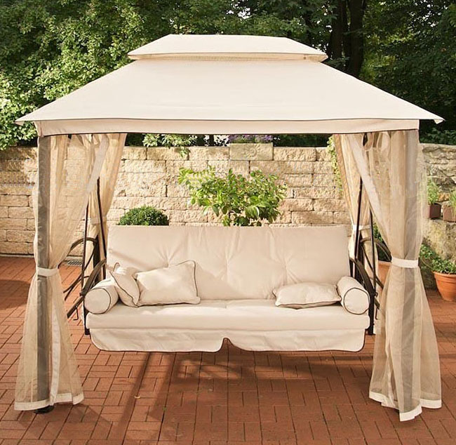 Rome canopy tent outdoor swing hammock swing lying bed for Balcony canopy