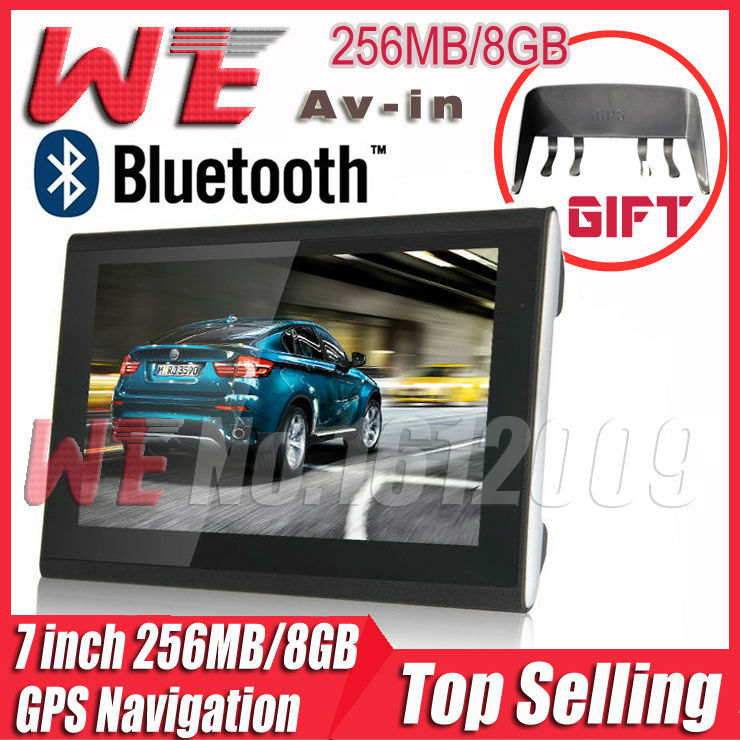 HD 7 inch GPS navigation with 800MHZ + Windows CE 6.0+ Bluetooth+ AV-IN+256MB DDR3+8GB flashroom 3D The newest maps Freeshipping(China (Mainland))