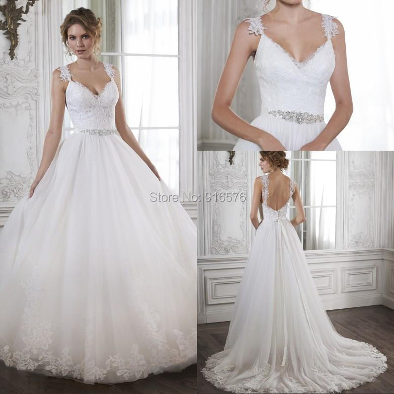 Buy 2015 wedding dresses lace appliques for Wedding dress plus size cheap