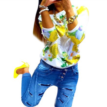 Long sleeve floral print T-Shirt crew neck casual top