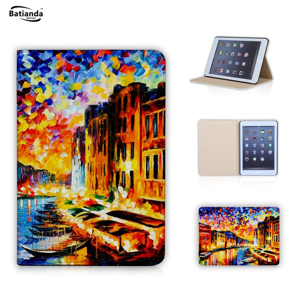 Oil painting Eiffel Tower Pattern Leather Flip Stand Style Smart Cover with PC Hard Back case for iPad Mini 2 3 with Screen Film(China (Mainland))