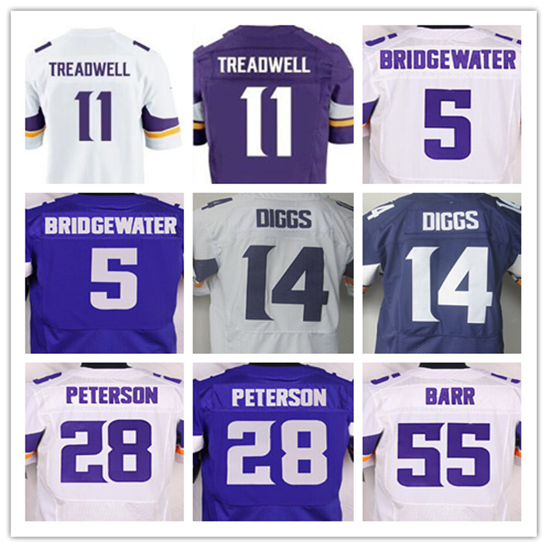 Good quality,Men's 11 Laquon Treadwell 5 Teddy Bridgewater 14 Stefon Diggs 28 Adrian Peterson 55 Anthony Barr elite jerseys(China (Mainland))