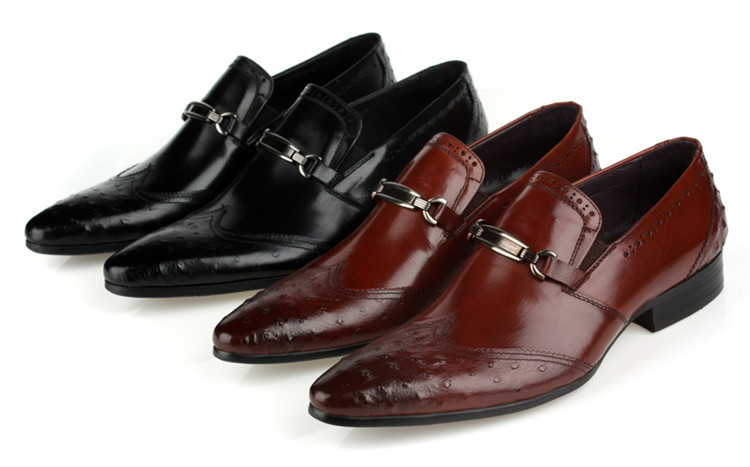 Supper cool Black/brown tan mens business shoes genuine leather wedding dress office work