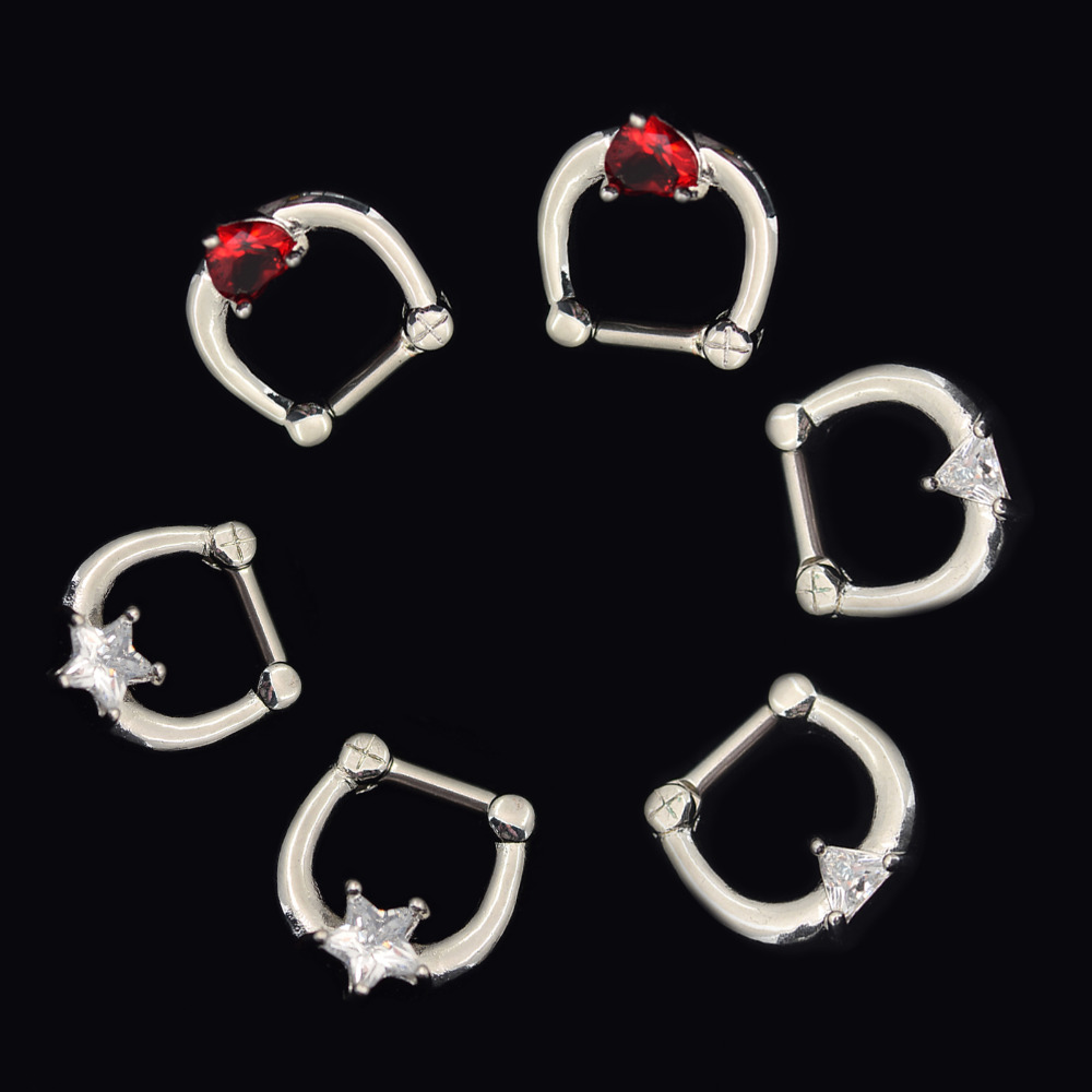 Free shipping 316L Stainless Steel Septum Clicker Hinged Red Heart+ Clear Star+Triangle Shaped CZ Nose Ring Gauge 14G Nose Rings(China (Mainland))