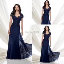Custom Made 2015 en mousseline de soie bleu marine mère de robes de marié avec manches courtes dentelle perlée longue soirée de fête robes(China (Mainland))