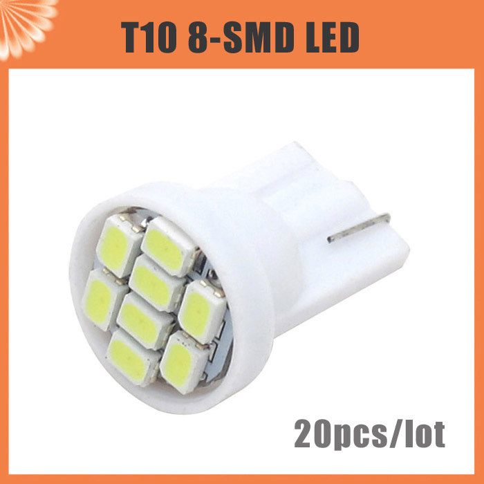 20pcs/lot T10 8 SMD 194 168 192 W5W 1206 Auto LED Car Light White 3020 Wedge Light Bulb Lamp Styling lighting wedge(China (Mainland))