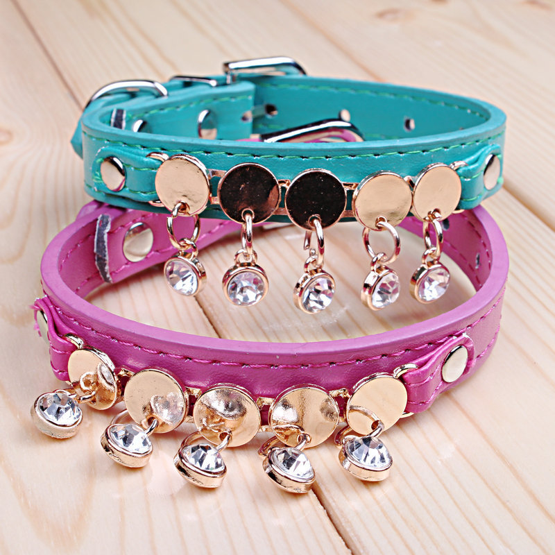 2015 New Designer Bling Crystal Diamond Dog Collar Leather PU Neck Strap Pet Small Dog Cat Collar With Ornamentation(China (Mainland))