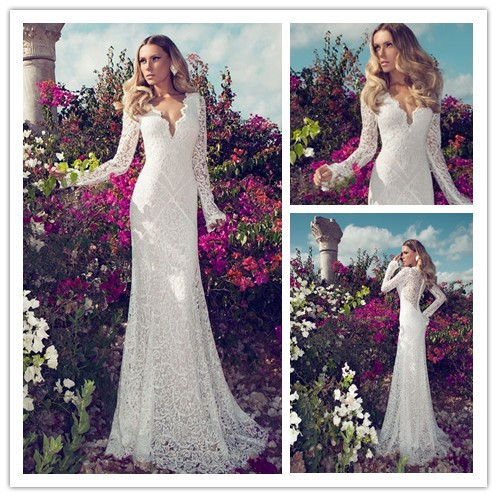 Noiva fashionable v neck lace wedding dresses mermaid for Long sleeve slim wedding dresses