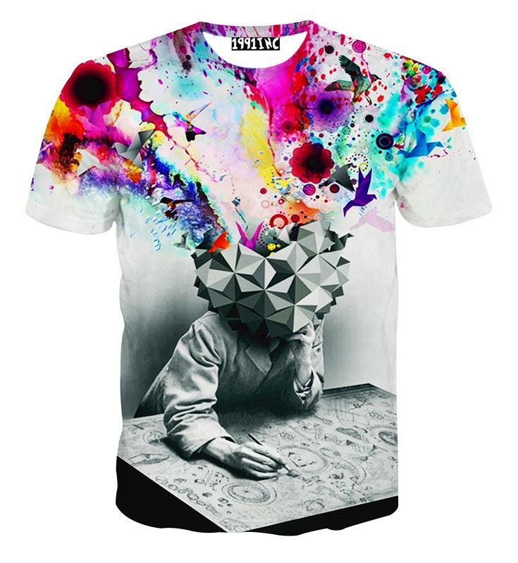 New fashion Factory men's 3d t shirt Tie-dye Meditation women/female print 3D t-shirt short sleeve tshirts Camiseta clothing(China (Mainland))