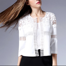 2016 Plus Size Women Clothing Lace Matching Jacket asaco Lace casacos white lace jacket