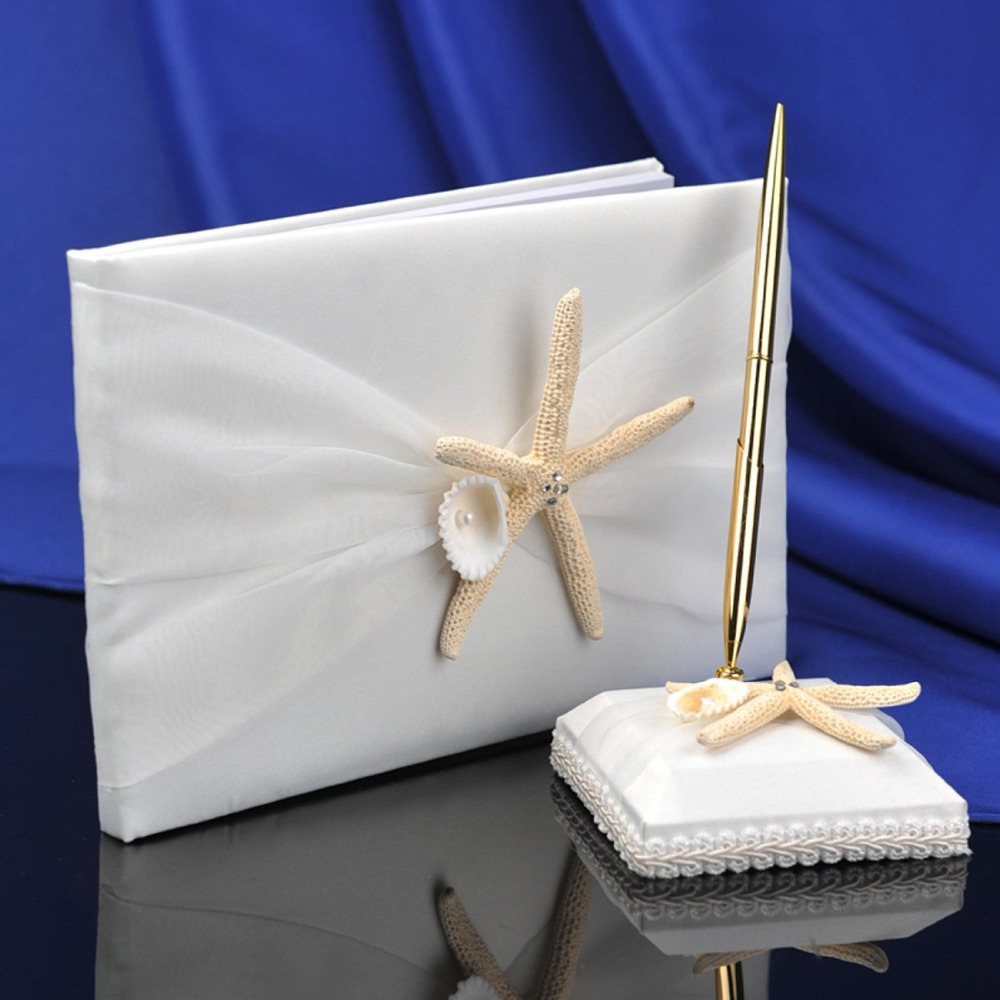 set ivory starfish seashell guest book pen set beach themed wedding