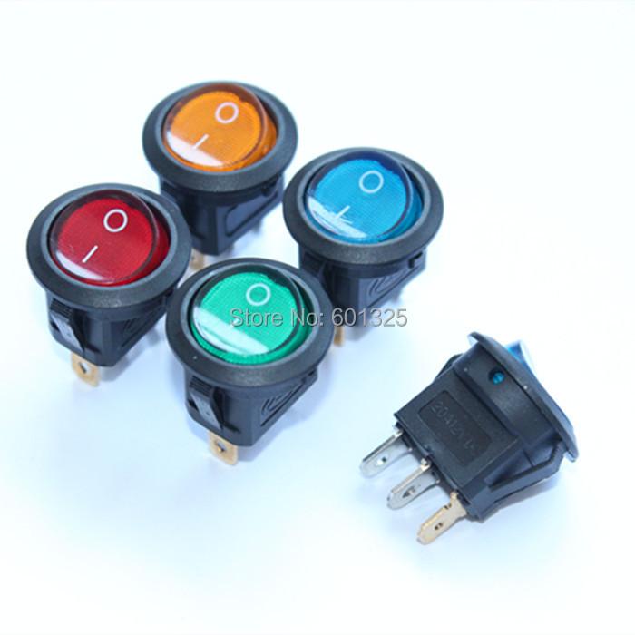 filn on off 12vdc LED illuminated round rocker switch