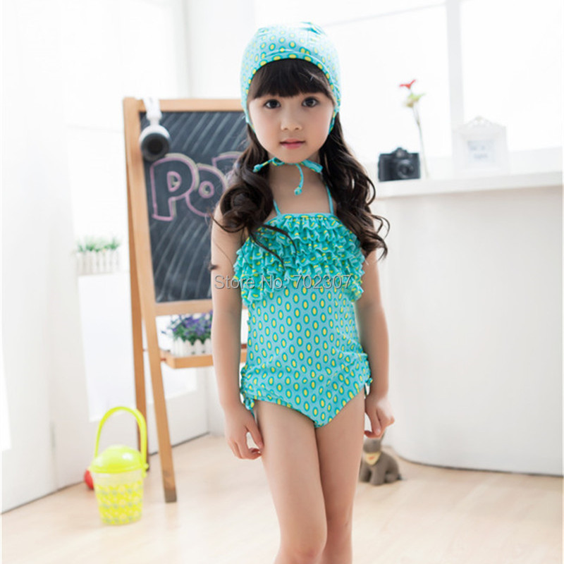 Arrived Acrylic material baby girl green Swimwear children Girl's Dot Suits 5set/lot SM-21