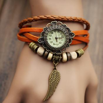 New Fashion Designer Vintage Bracelet Watch Leather Hand Knit Watches bracelet Wristwatches Leaf Pendant relogio feminino