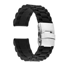 18mm 20mm 22mm 24mm Universal Watch Band Silicone Rubber Link Bracelet Wrist Strap Light Soft For Men Women Wristwatch