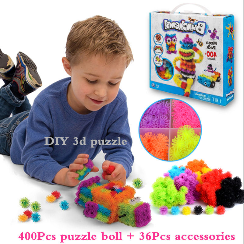 400pcs DIY 3D Puzzle Puff Ball Squeezed Ball Creative Thorn Ball Clusters Handmade Educational Toys For kids Juguetes Educativos(China (Mainland))