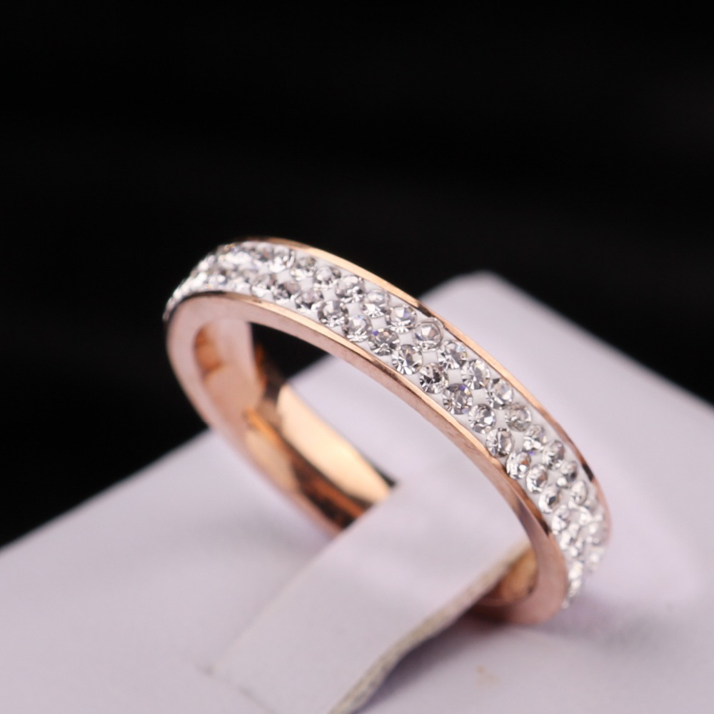 iMixBox Mode Clay material Crystal Rose Gold Ring Double row stainless steel smooth couple promise marry Gifts brand design ring(China (Mainland))