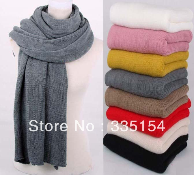 2013 Autumn Winter Crocheted Knitted Acrylic Scarf Plain Color Pashmina Shawls Wraps 258g 6colors 5pcs/lot Freeshipping(China (Mainland))