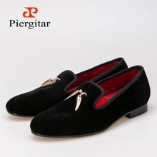 Gold metal signature Shark Tooth Men Velvet shoes Men wedding and party Loafers Men Flats Size US 6-14 Free shipping