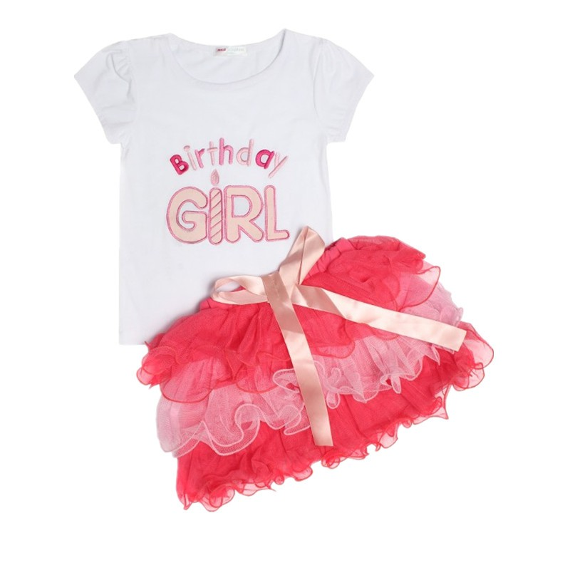 Lovely children's set kids baby girl set suits cartoon letter birthday girl outfits summer style hot selling