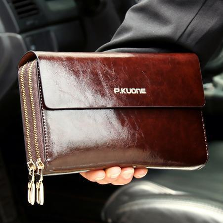 Hot Sale! Luxury Shining Oil Wax Cowhide Men Clutch Bag Long Genuine Leather, men wallets Double Layer Business Clutch(China (Mainland))
