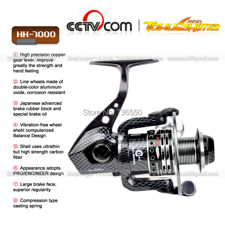 TOKUSHIMA HK7000 Full Metal 13+1RB Spinning reel Carp fishing Fishing Pesca 4.9:1 - BEACH LIFE store