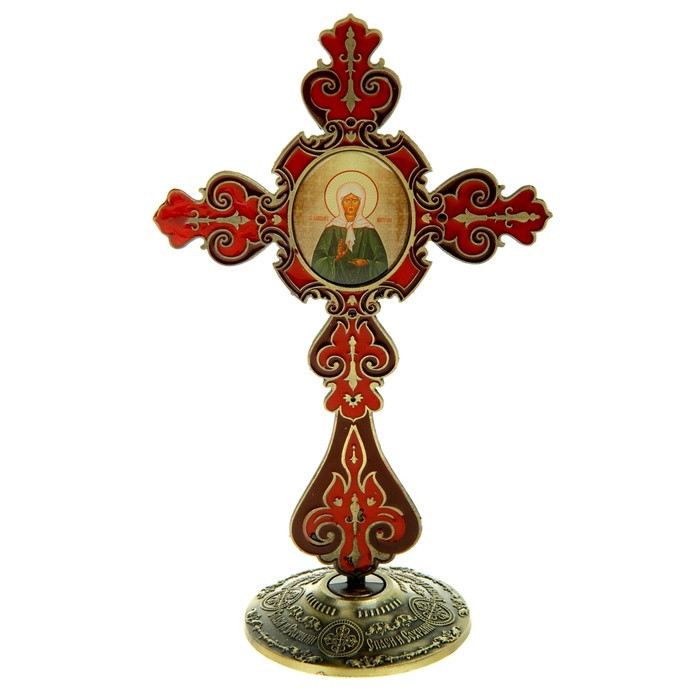 """church cross on a stand with the icon """"Blessed Matrona of Moscow lighted church crosses Religio Christiana Christianity(China (Mainland))"""