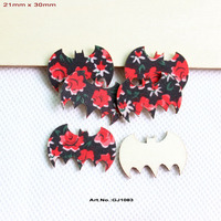 (120pcs/lot)30mm Fabric Bat Natural Wooden Back Halloween Bat Ornaments Scrapbooking Bulk 1.2- GJ1083