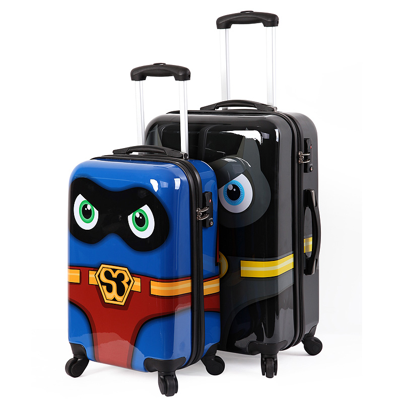 """Super man luggage, child kids personalized Suitcase,cartoon Boarding Travel bag ,20""""24""""inch ABS+PC universal wheels trolley(China (Mainland))"""