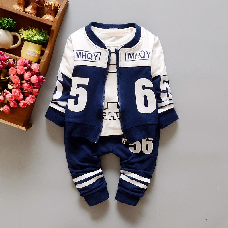 Autumn spring baby boys clothing set coat+T shirt+Pants newborn sports wear outwear 3pcs/set Baseball uniform suit 4 colors(China (Mainland))