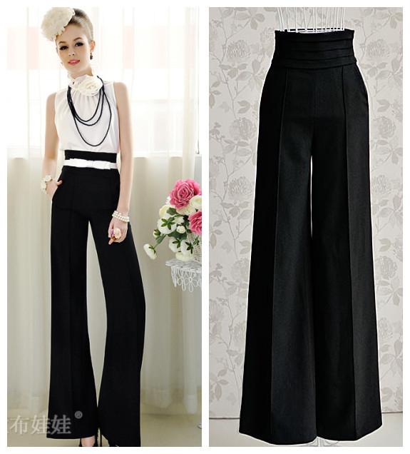 avec ceinture livraison gratuite 2014 femmes mode noir taille haute jambe large flare pantalons. Black Bedroom Furniture Sets. Home Design Ideas
