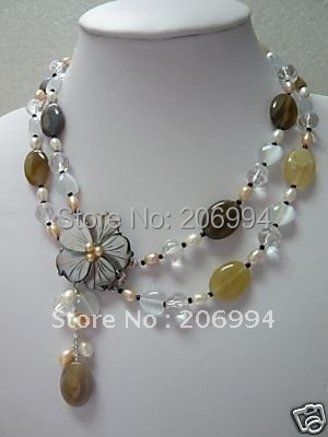 Wholesales Jewelry Christmas Fine 2 rows pearl agate necklace Free gift free shipping(China (Mainland))