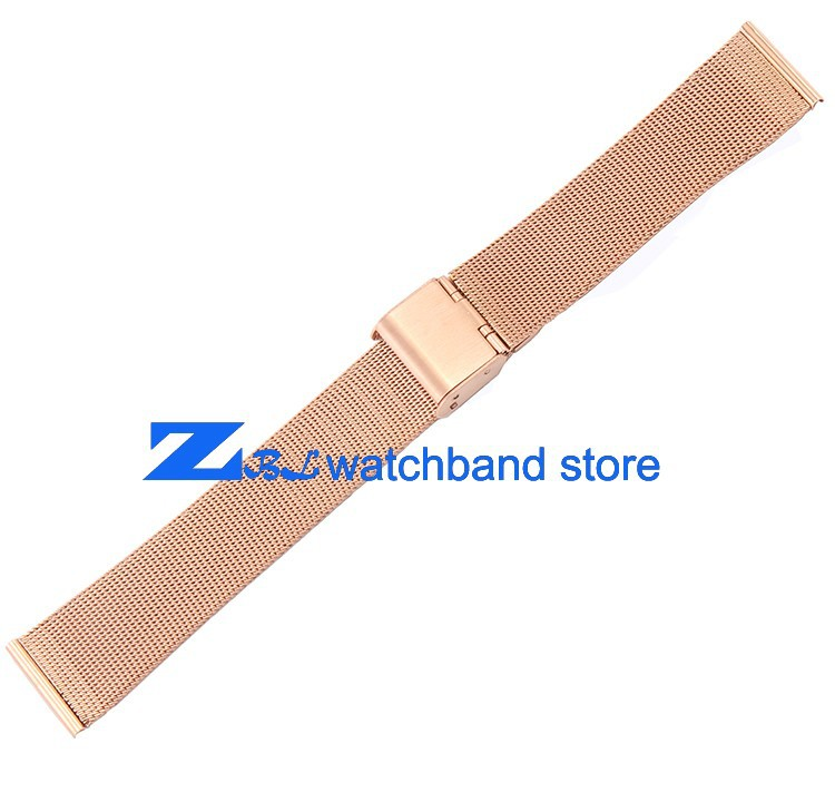 Rose Gold Stainless Steel Watchband Ultra Thin Mesh Strap Width 10mm ...
