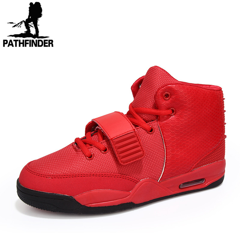 Fashion 2016 Winter Men High Top Mesh Casual Shoes Red Comfortable Men Boots Microfiber Yeezy Shoes Black White Botas Spring(China (Mainland))