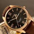 2016 YAZOLE Luxury Famous Male Roman Dial Clock Rose Gold Business Men Quartz Watch Golden Wristwatch